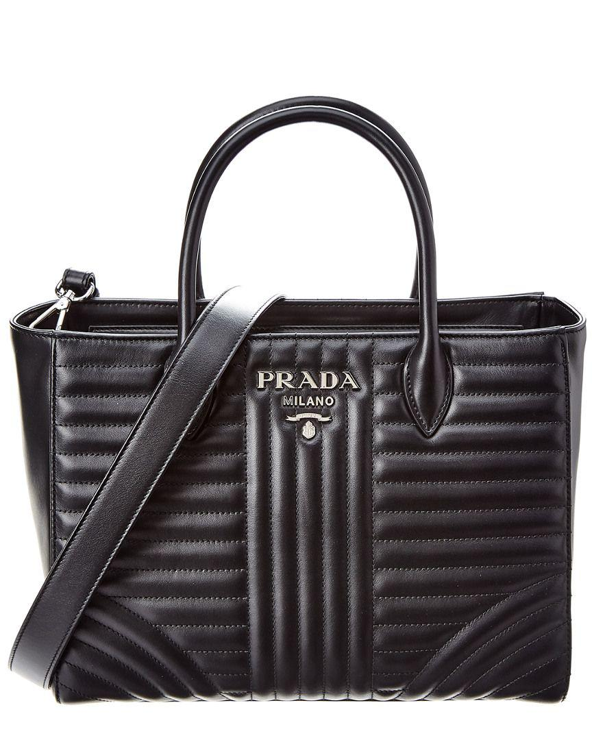 70583b9756 Lyst - Prada Diagramme Leather Tote in Black