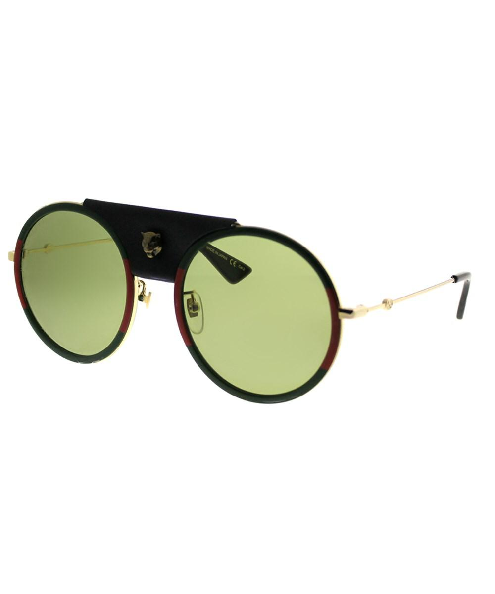 b32ffc35ffb Lyst - Gucci Gg0061s 017 Gold Green Red Round Sunglasses in Metallic