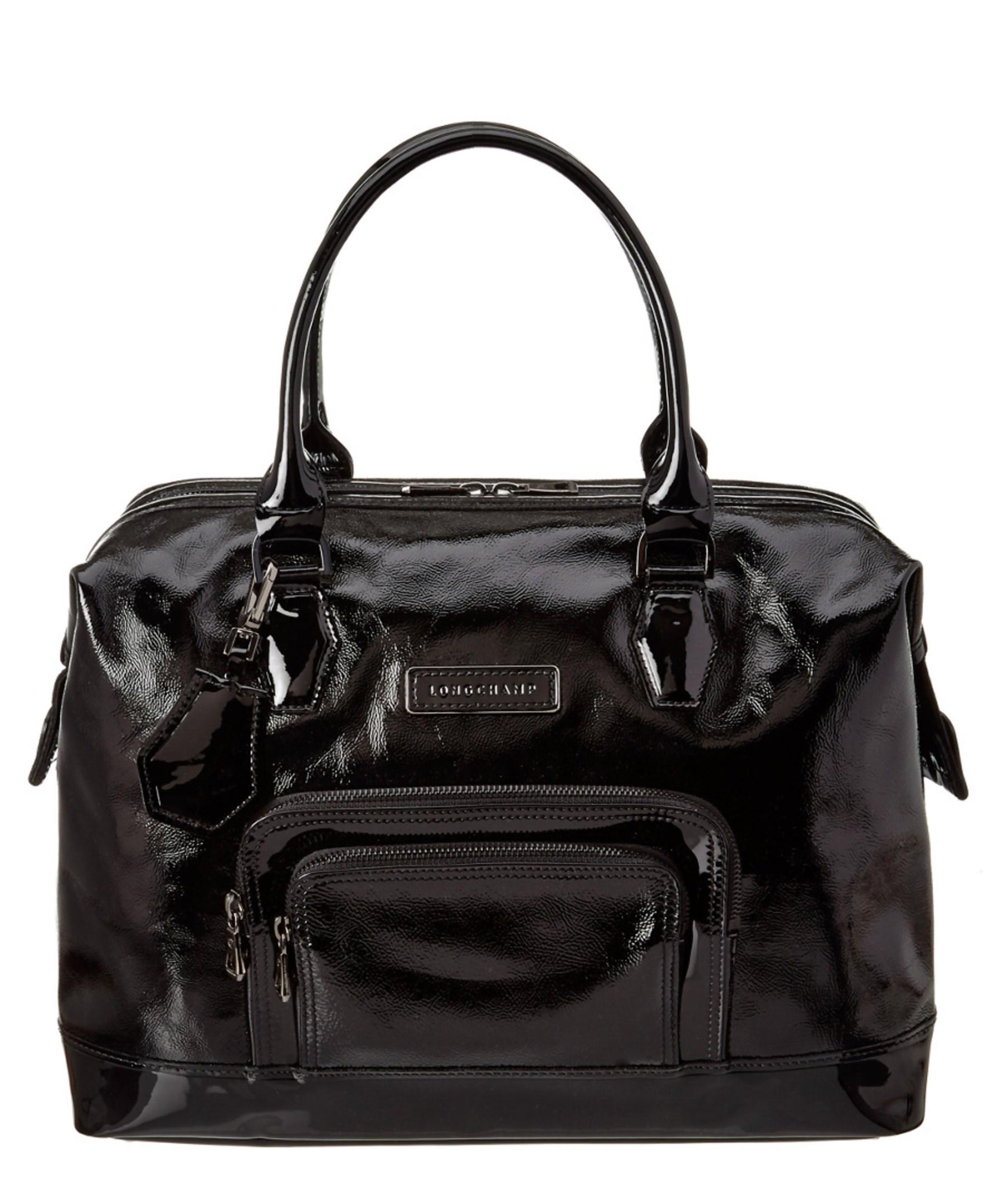 Lyst - Longchamp Legende Verni Patent Satchel in Black 86e778d2fa502