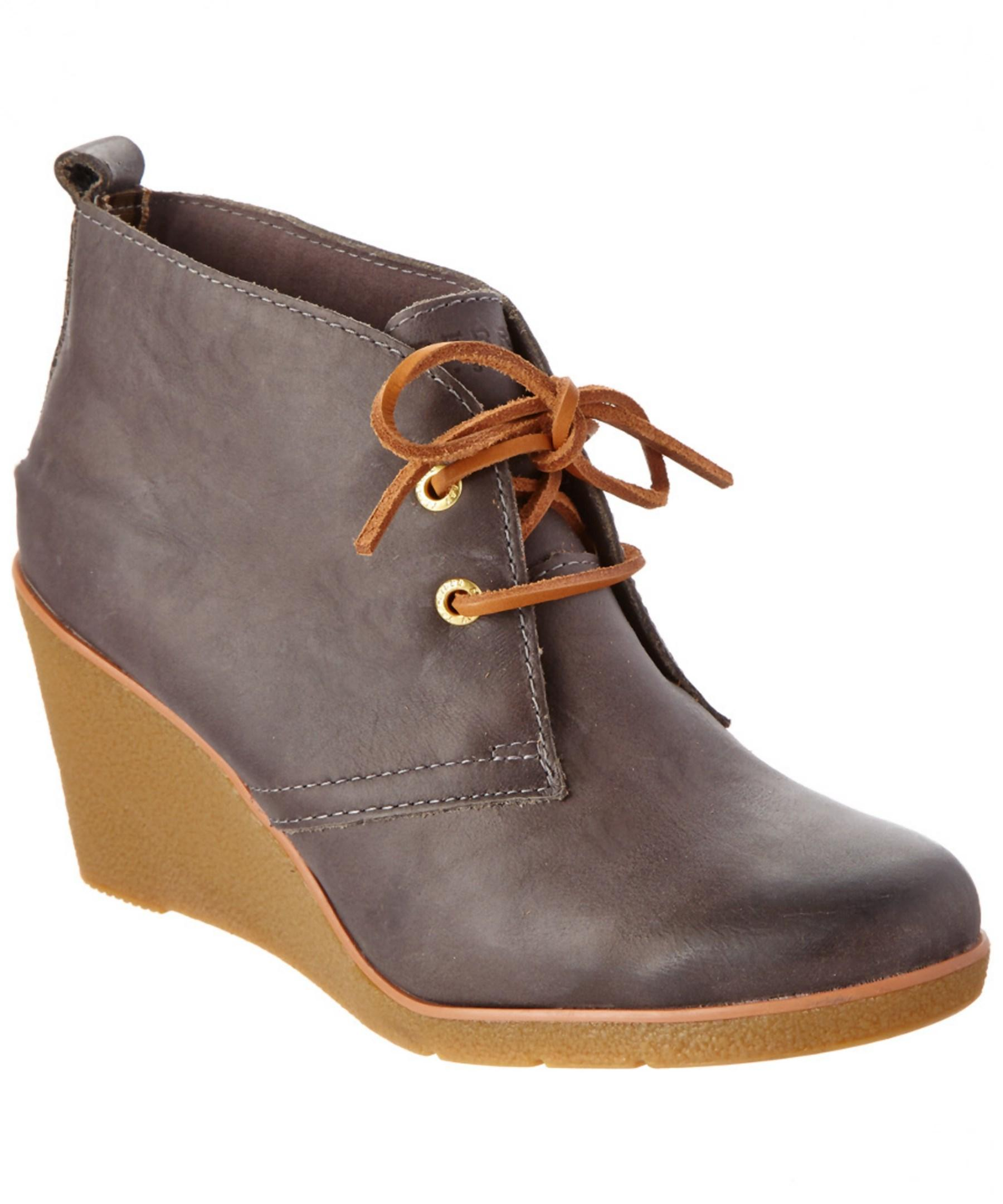 sperry top sider harlow leather wedge boot in brown lyst