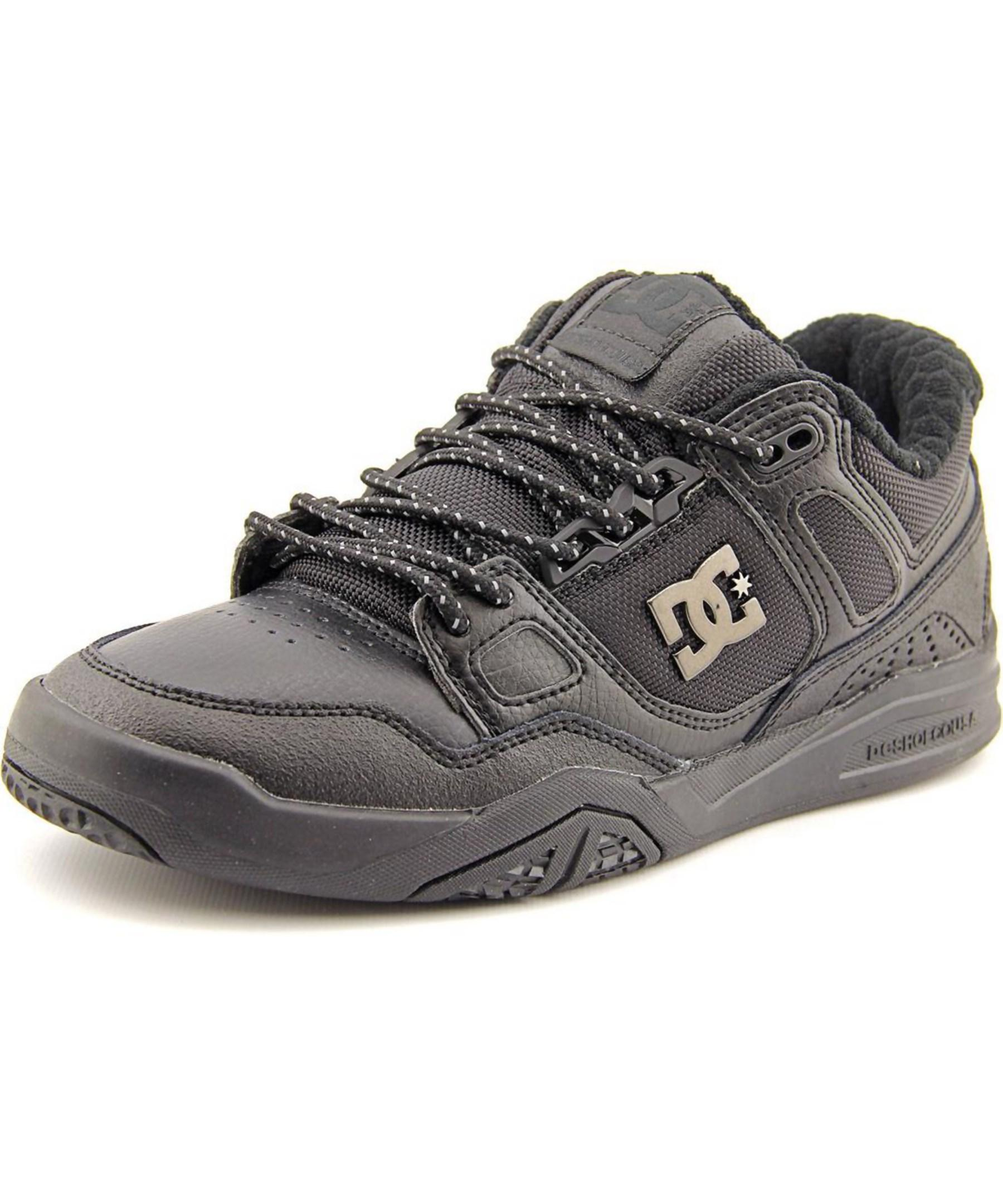 dc shoes stag 2 se toe leather black skate shoe