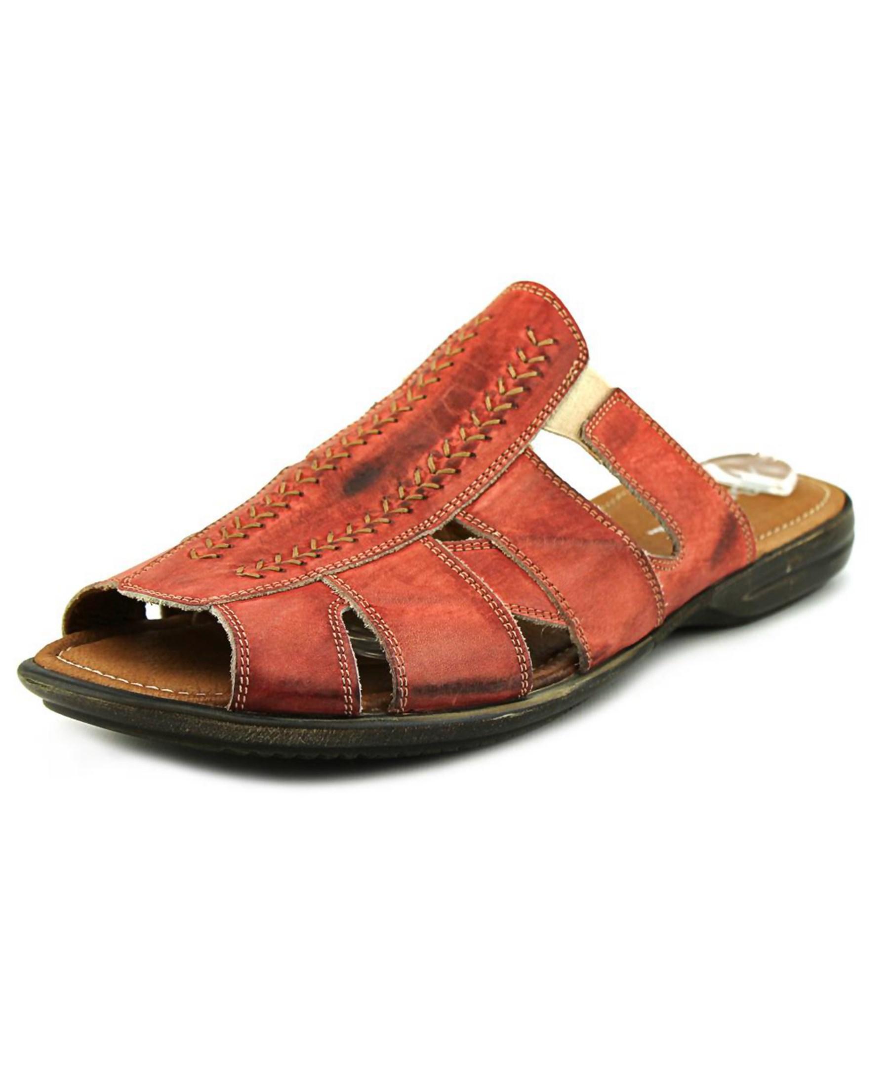 Bacco Bucci Neto Men Open Toe Leather Slides Sandal In Red