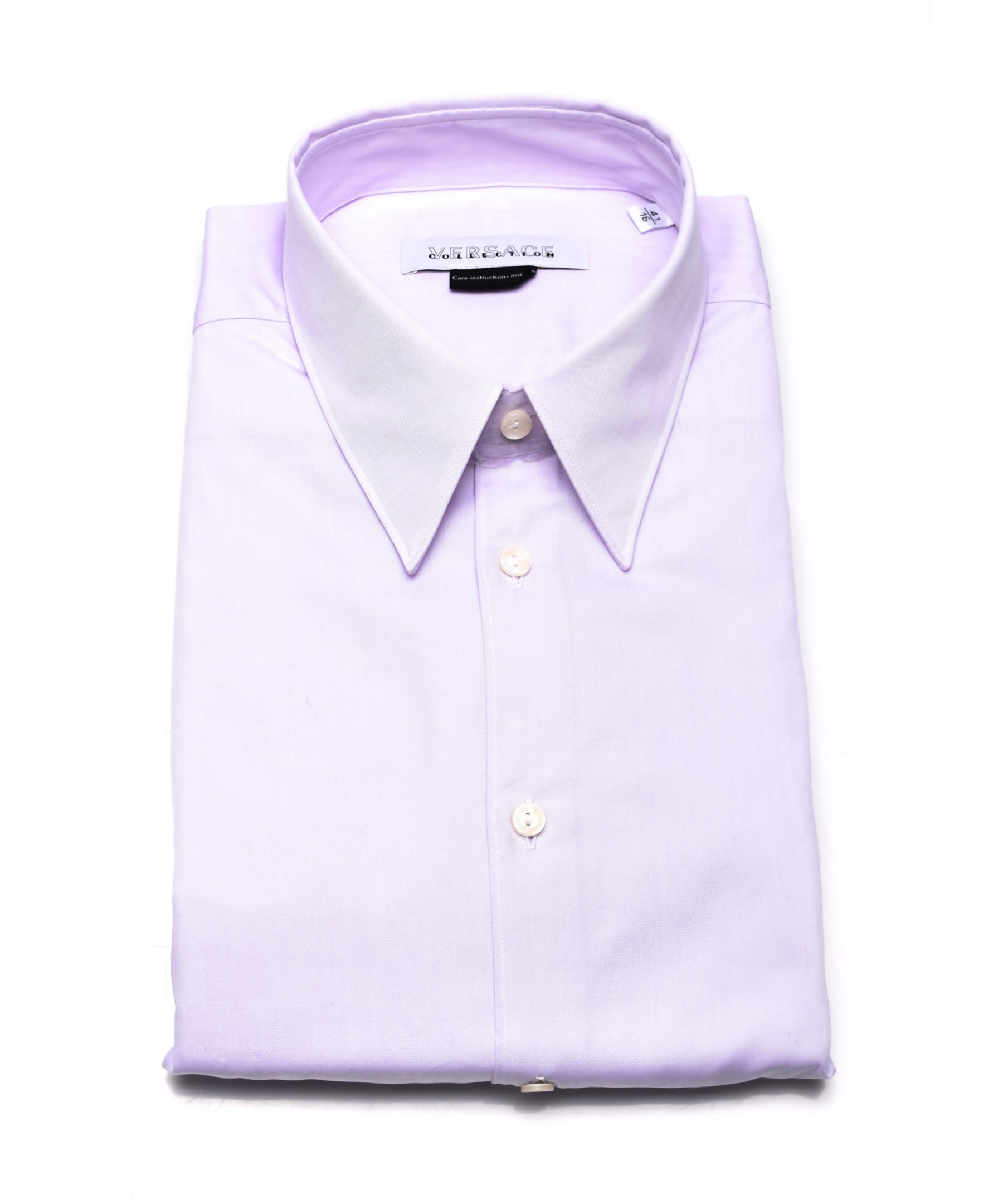 Versace Collections Men Cotton Dress Shirt Lilac In Purple