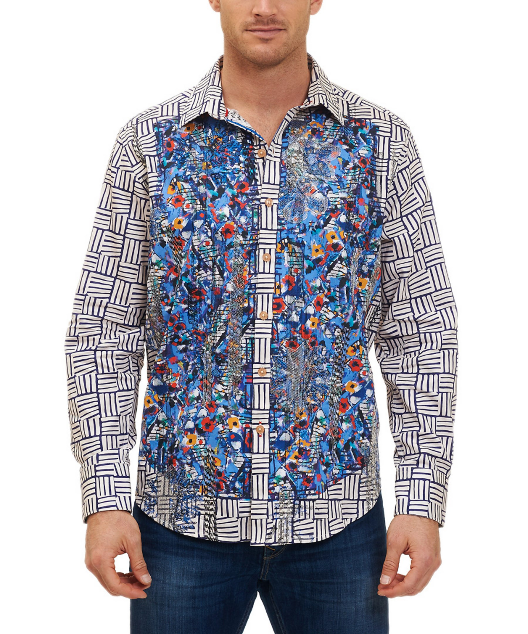 Robert graham ruwallah classic fit woven shirt in blue for for Where are robert graham shirts made