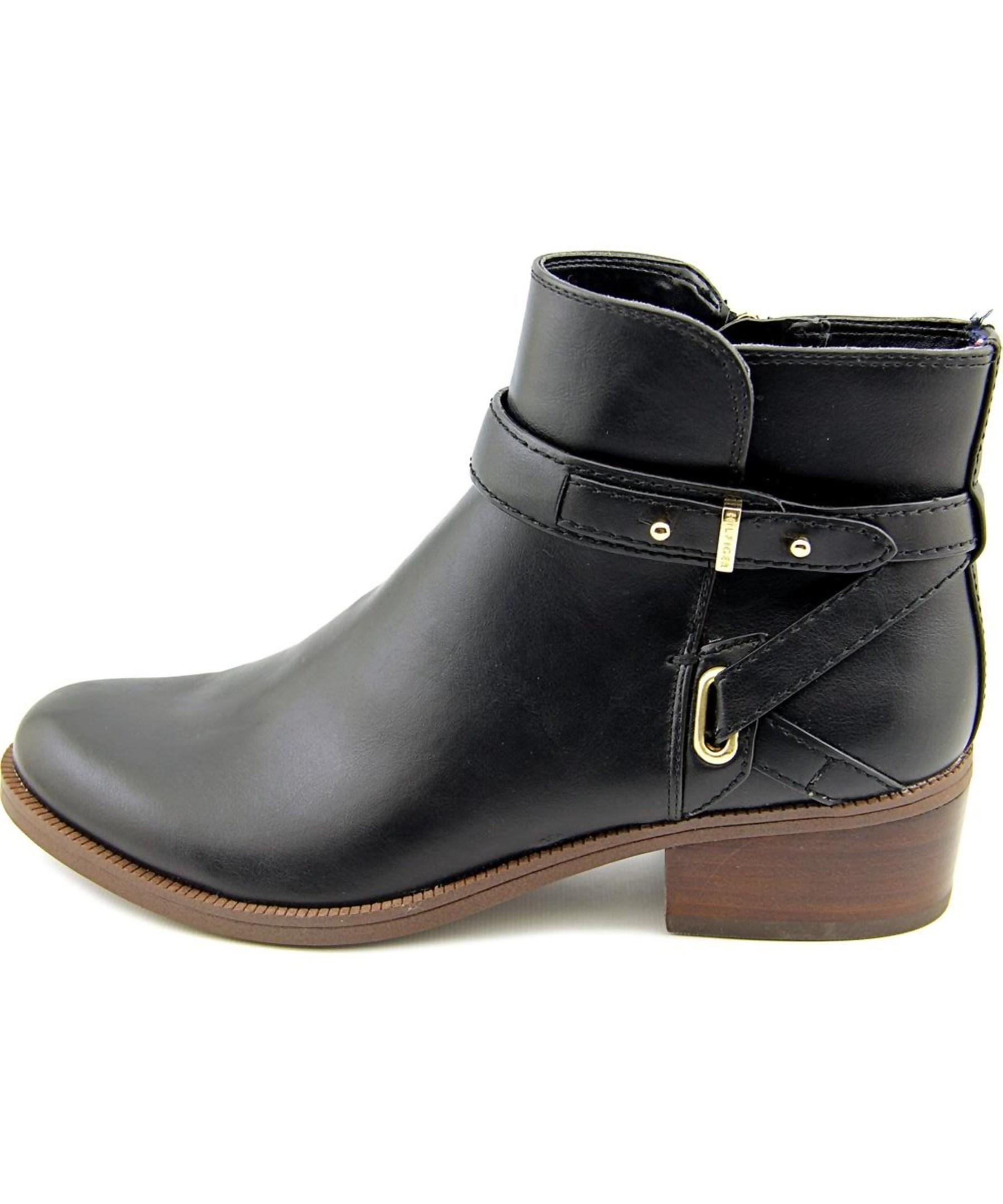 tommy hilfiger gatsbi2 women round toe synthetic black ankle boot in. Black Bedroom Furniture Sets. Home Design Ideas