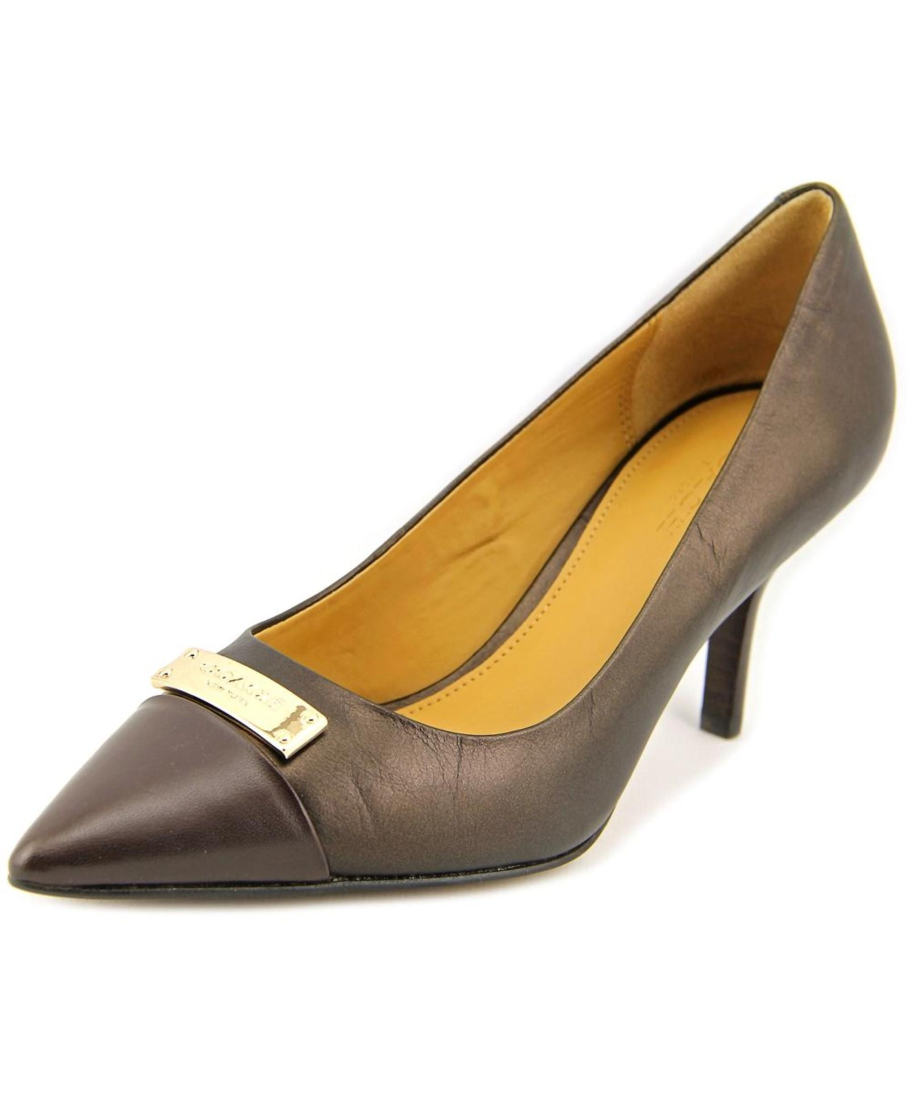 Coach Zan Mat Women Pointed Toe Leather Heels in Brown | Lyst