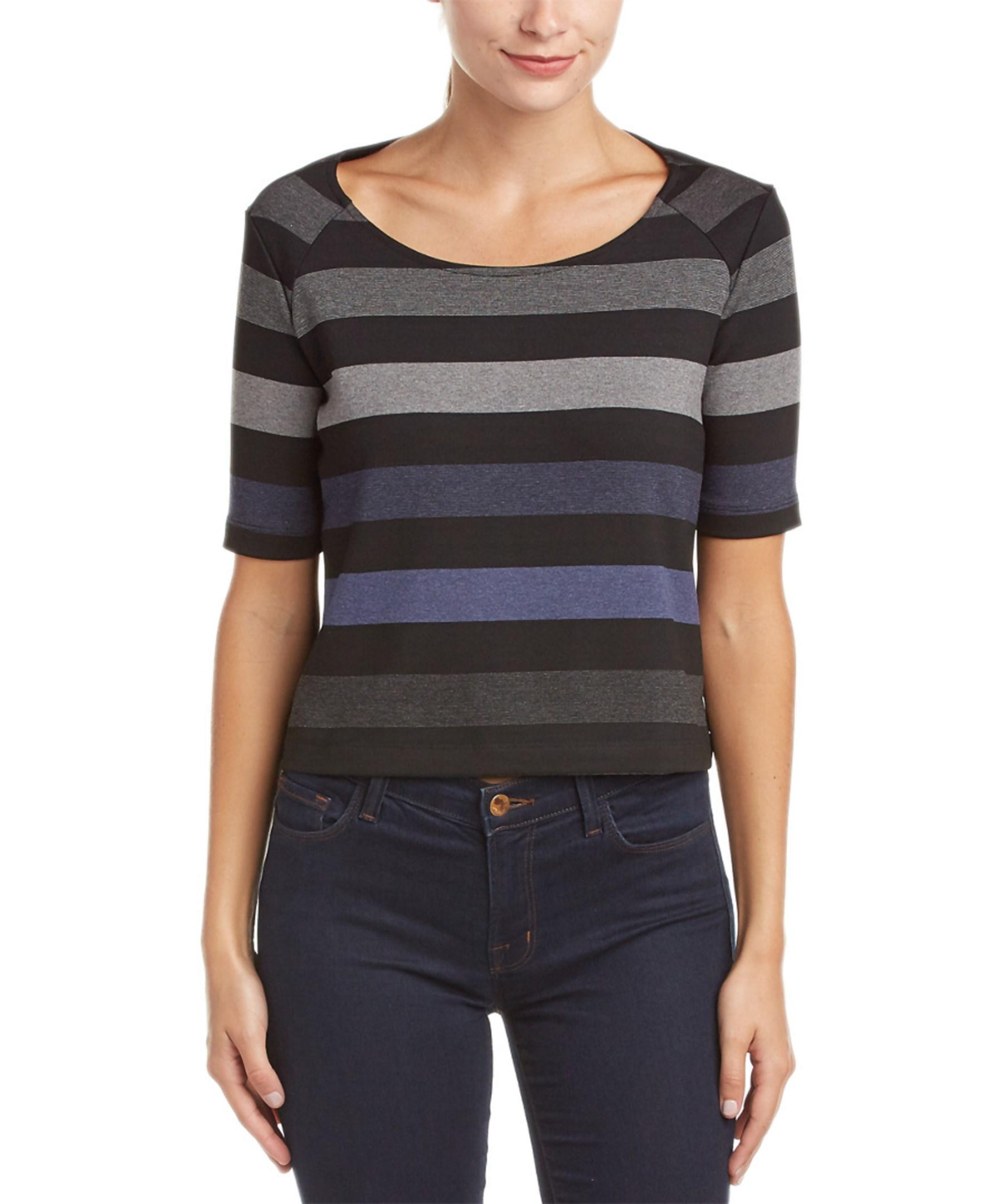Three Dots Cameron Stripe T Shirt In Black Lyst