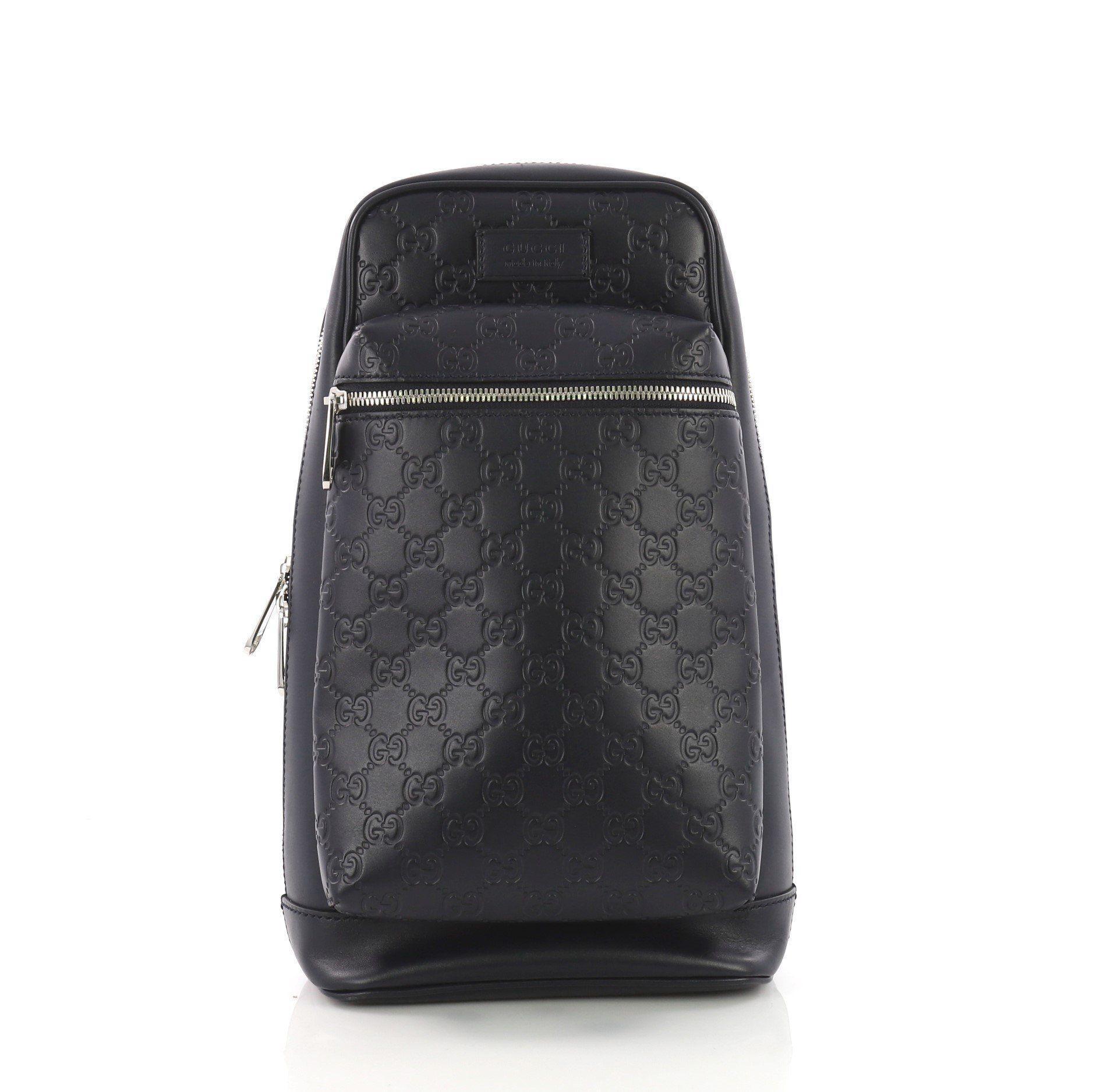 11006309170e Gucci. Women s Black Pre Owned Signature Slim Crossbody Bag Ssima Leather  Small