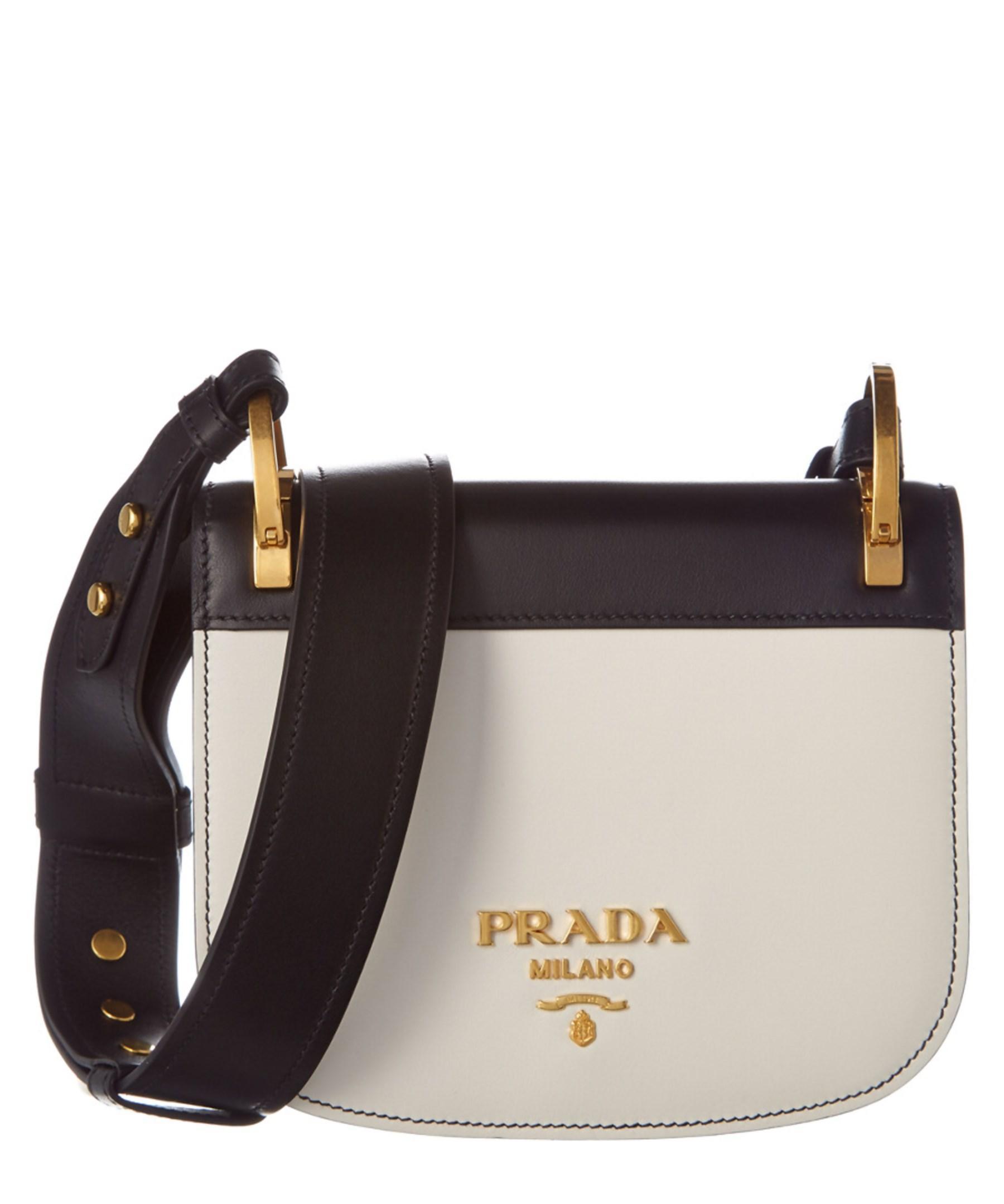 f144987d1400f9 ... italy lyst prada pionniere calf leather saddle bag in white 7f1dc f4dbe