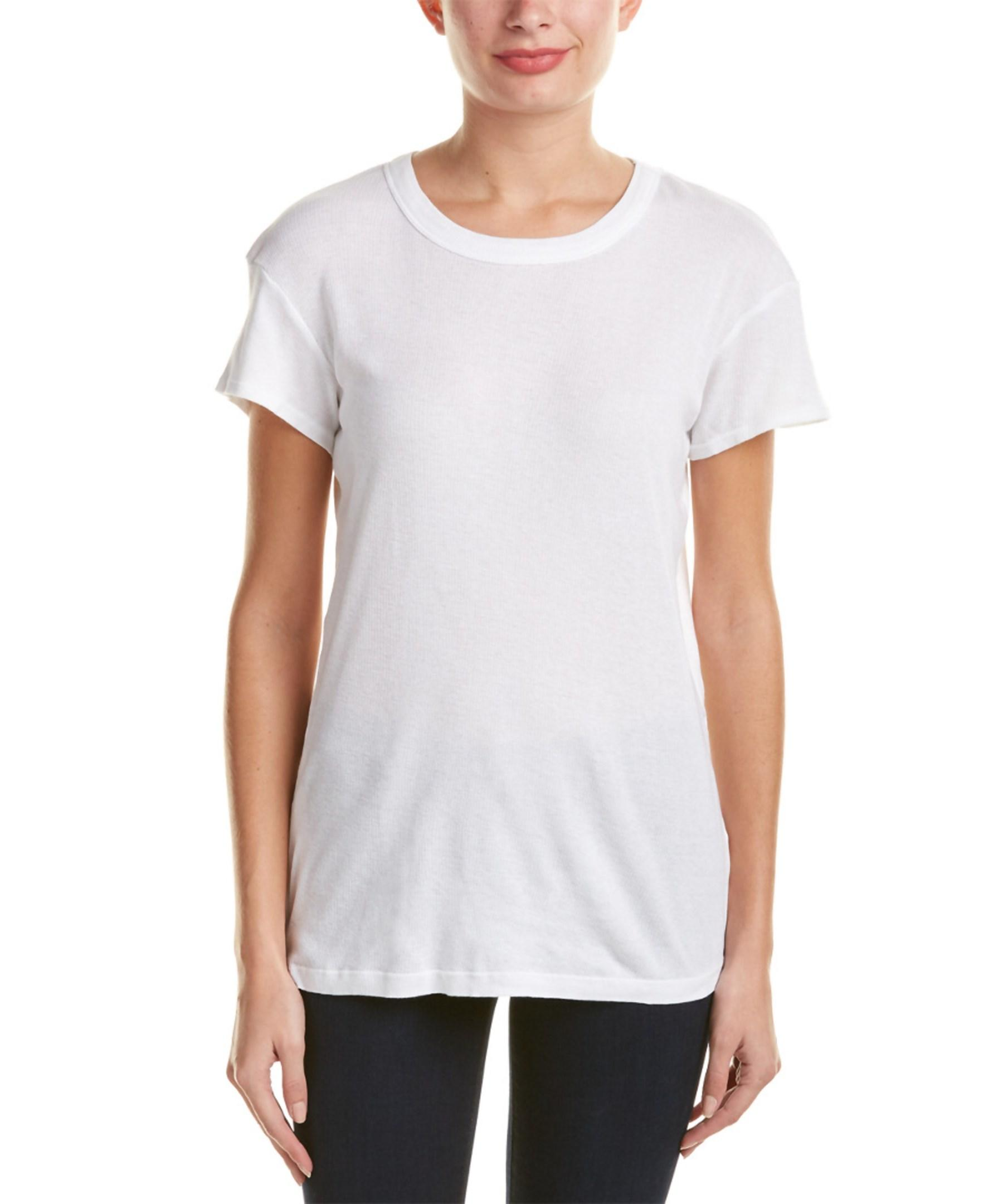 Michael stars ribbed cap sleeves t shirt in white lyst for Michael stars tee shirts