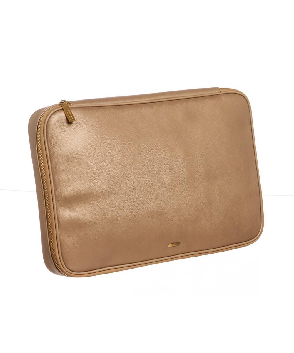 e3f5e448bf58 Lyst - Ferragamo Beige Leather Laptop Document Holder in Natural