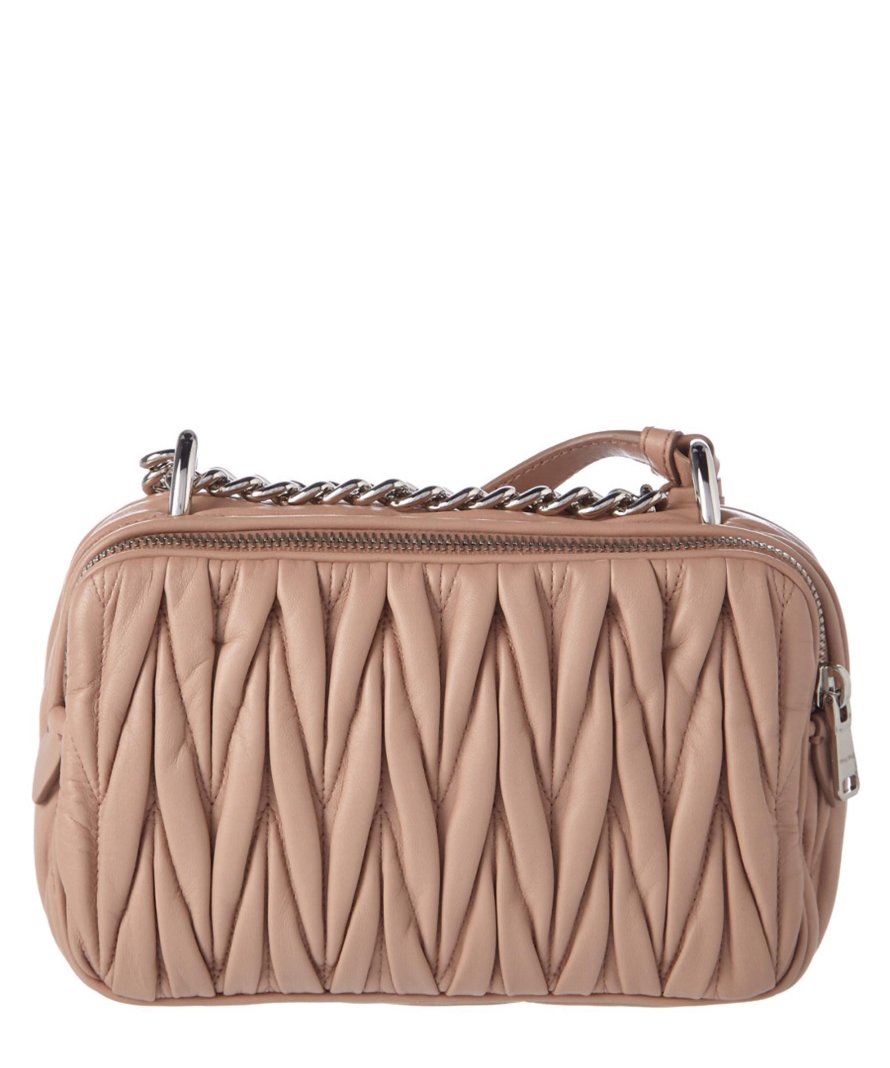 519313408d1e Lyst - Miu miu Matelasse Leather Camera Bag Bag in Pink