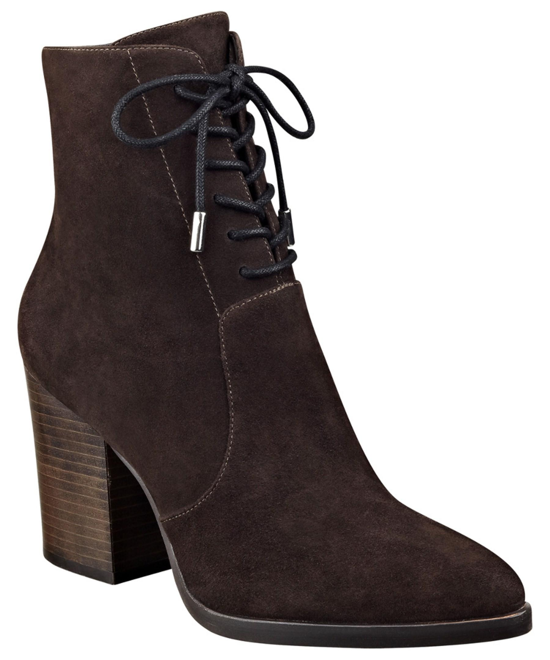 marc fisher aaliyah suede bootie in brown lyst