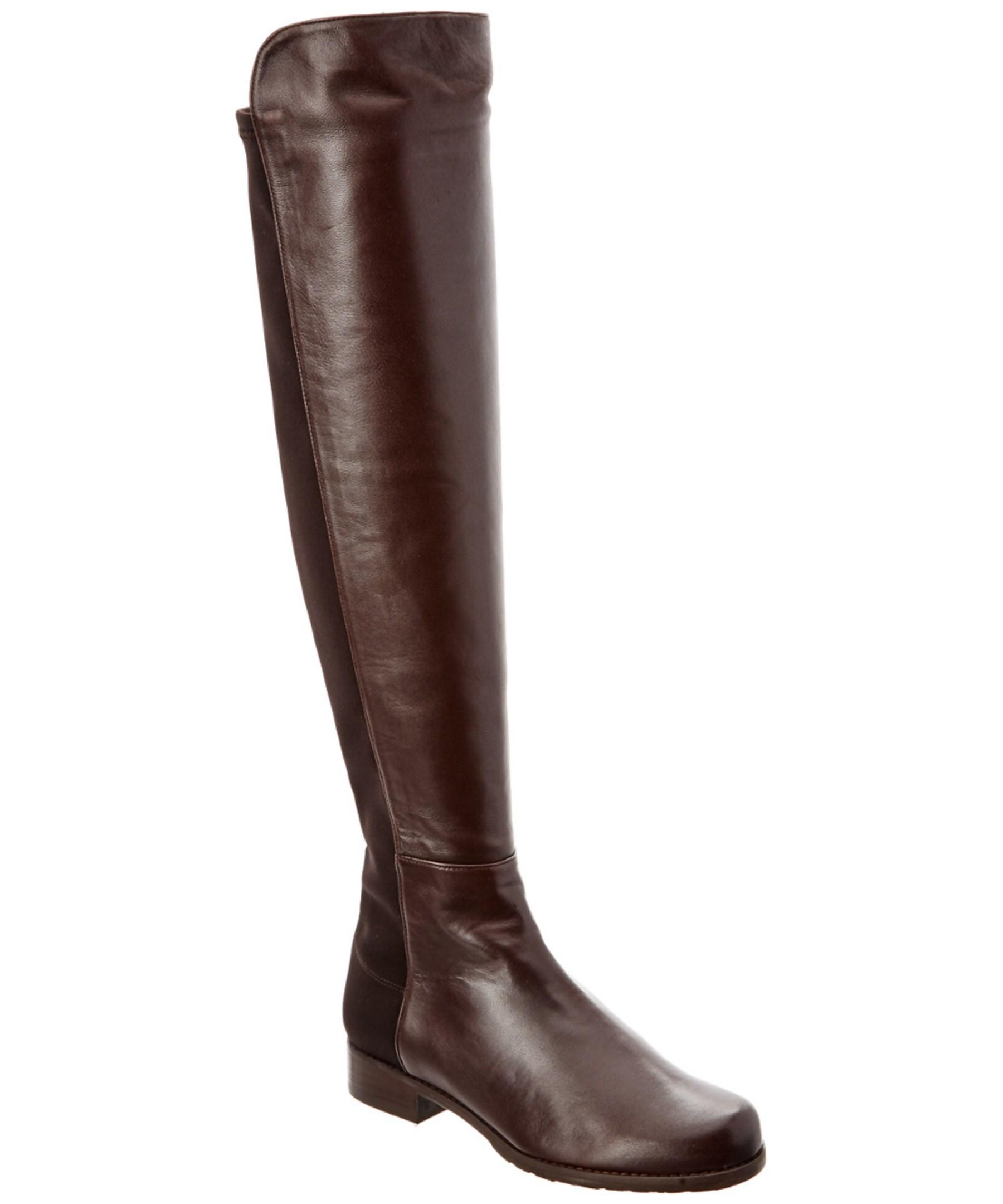 stuart weitzman 5050 leather boot in brown lyst