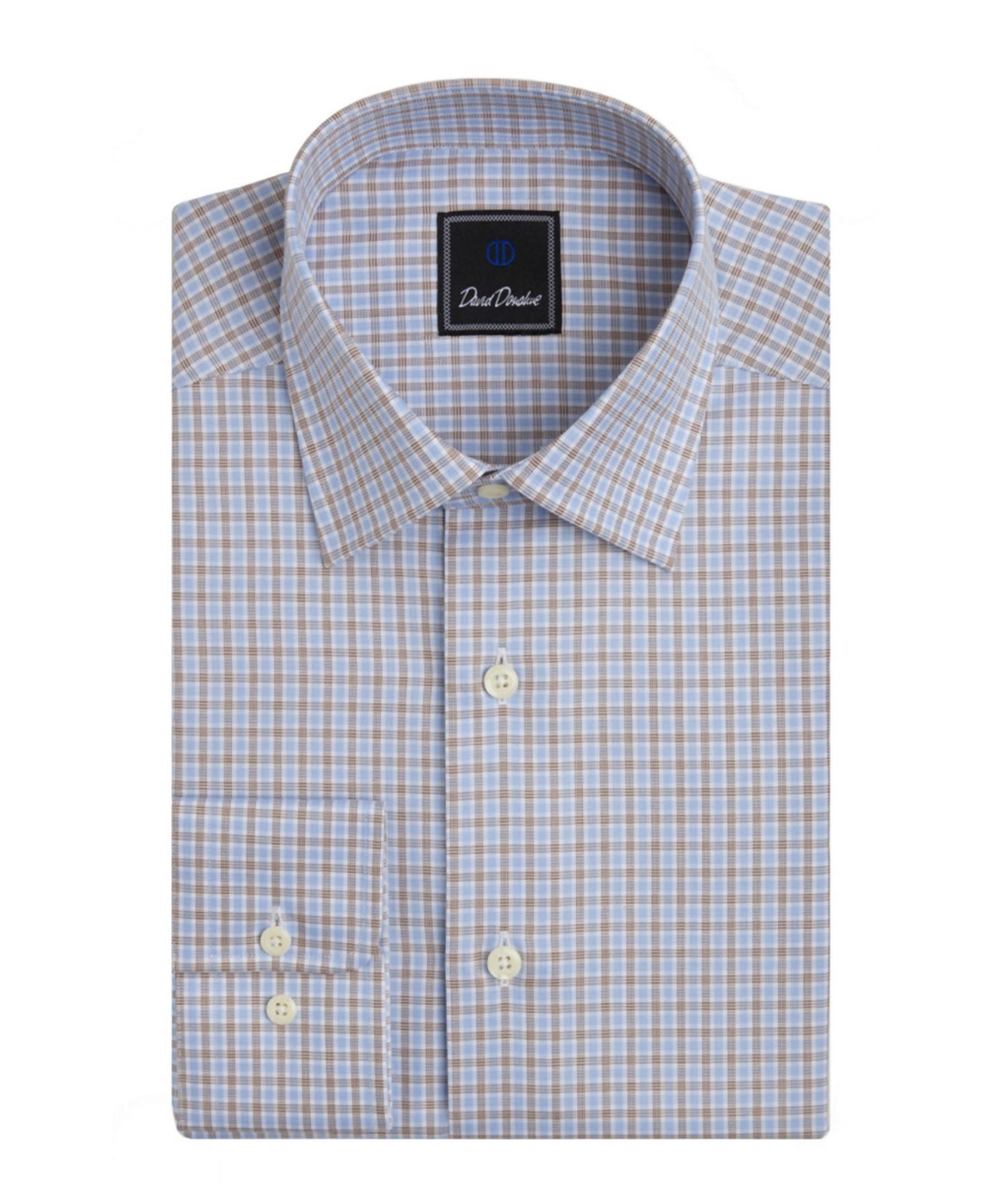 David donahue regular fit dress shirt in blue for men lyst for Regular fit dress shirt