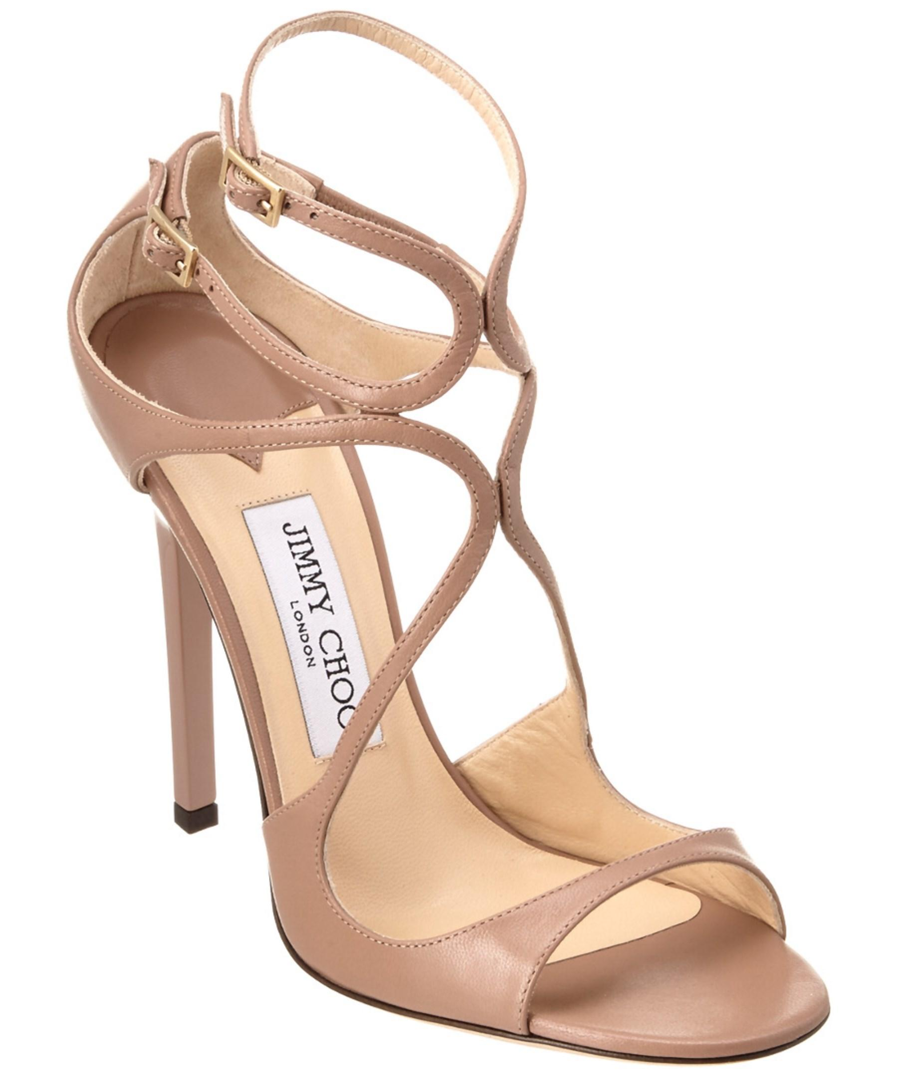 Jimmy Choo Lance 115 Leather Strappy Sandal In Pink Lyst