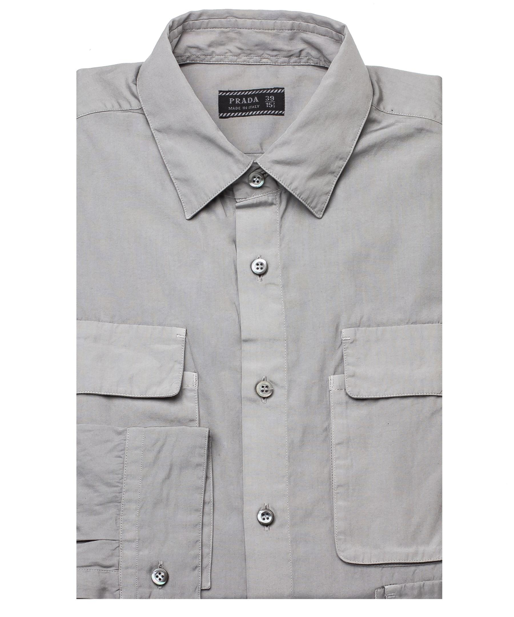 Prada men 39 s spread collar pocketed dress shirt grey in for Mens wide collar dress shirts