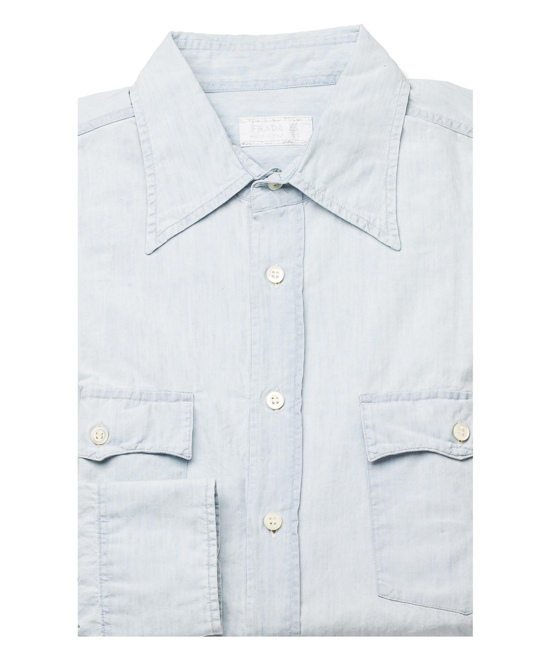 Prada men 39 s pointed collar cotton dress shirt aqua in blue for Aqua blue mens dress shirt