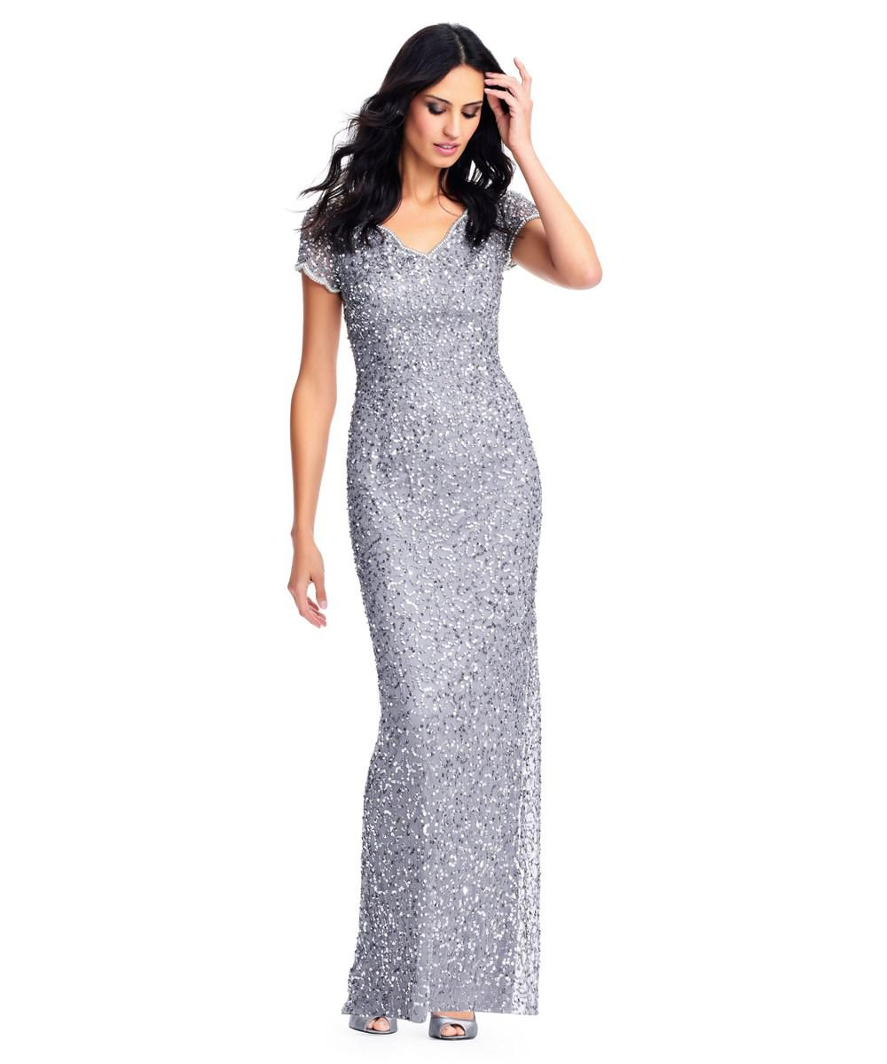 Lyst - Adrianna Papell Sequin Beaded Gown With Pearl Accented ...