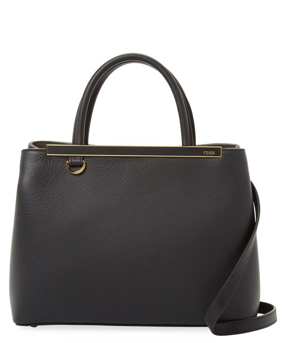 5004be894135 Lyst - Fendi Petite 2 Jours Leather Satchel in Black