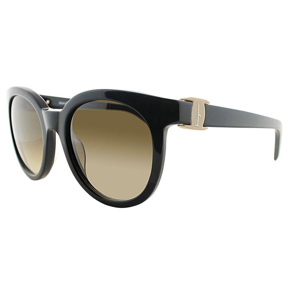b02f3879ff Lyst - Ferragamo Sf 783s 001 53mm Black Round Sunglasses in Black