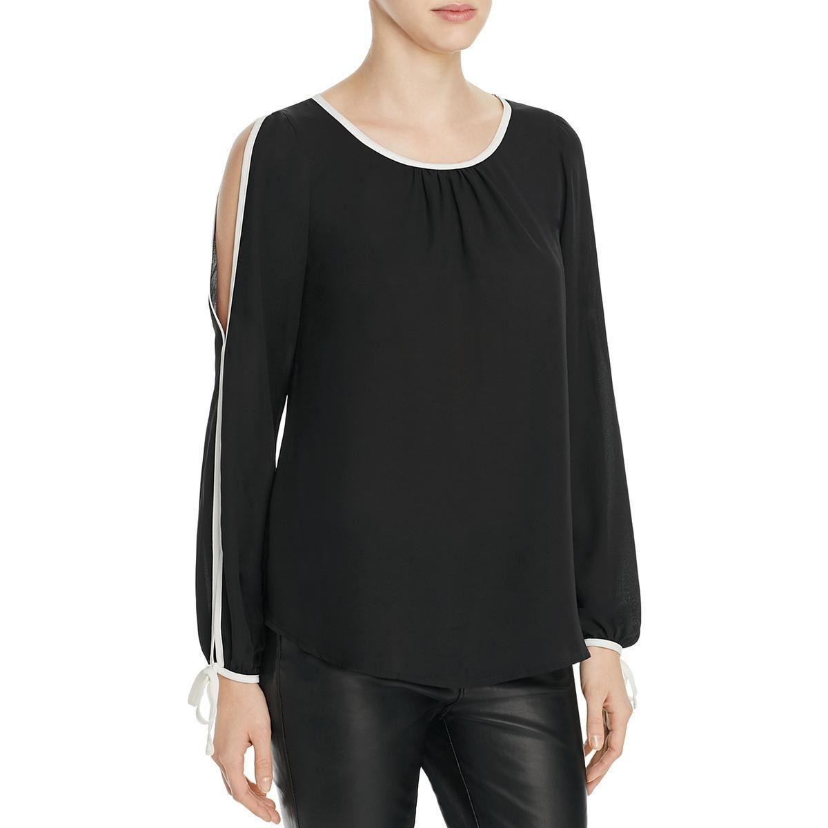 3a1464cac8af4c Lyst - Bobeau Womens Denver Contrast Trim Cold Shoulder Blouse in Black