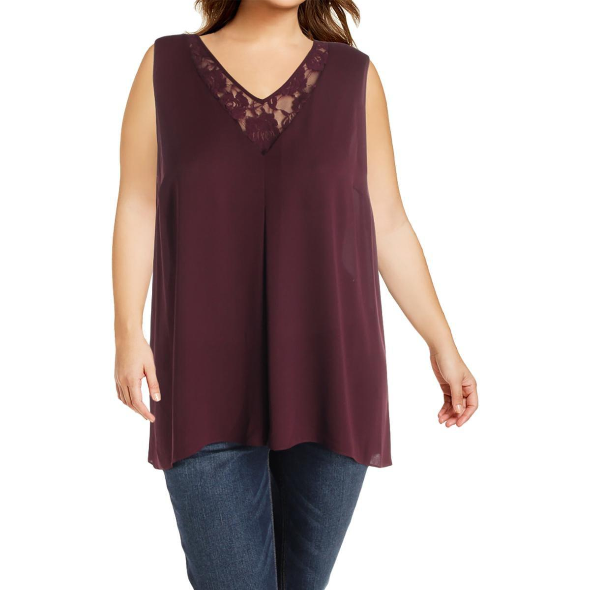 667f8e7db0548f Lyst - Vince Camuto Womens Plus Lace Inset Sheer Tank Top in Purple