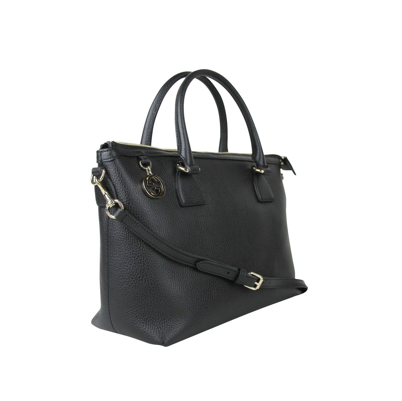 7aa3384ba3d9 Lyst - Gucci GG Charm Black Leather Medium Convertible Straight Bag ...