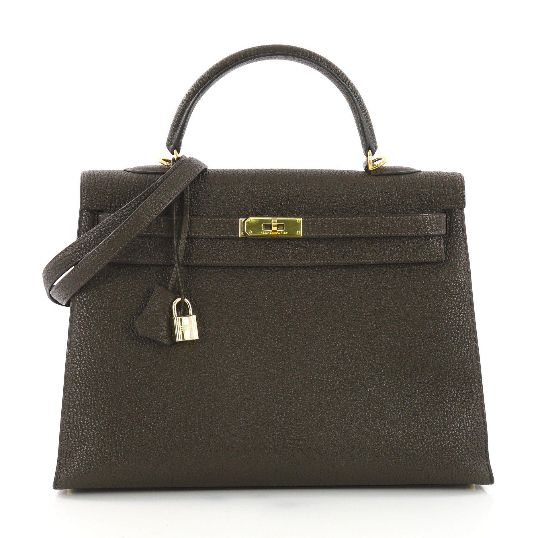 de1bc70eb1ab Hermès. Women s Pre Owned Kelly Handbag Vert Olive Chevre Mangalore With Gold  Hardware 35