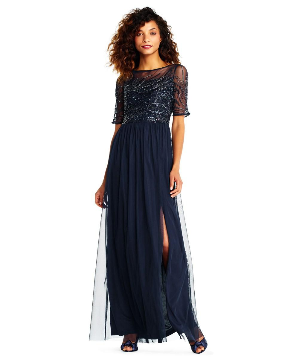 ae594ee9 Adrianna Papell. Women's Blue Tulle Gown With Sequin Beaded Short Sleeve  Bodice
