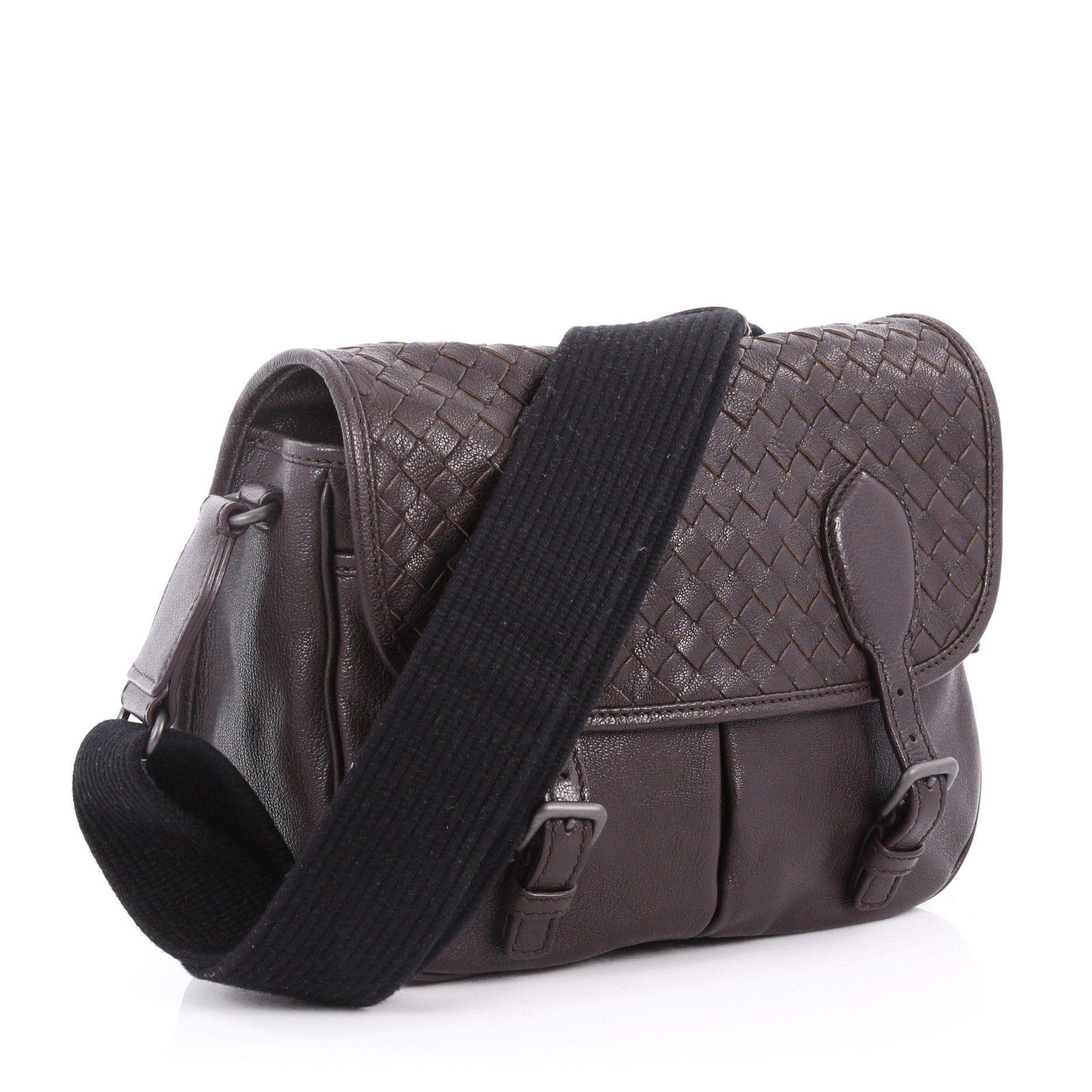 Bottega Veneta Gardena Messenger Bag Cervo Leather With Intrecciato ... e25cc54ae9