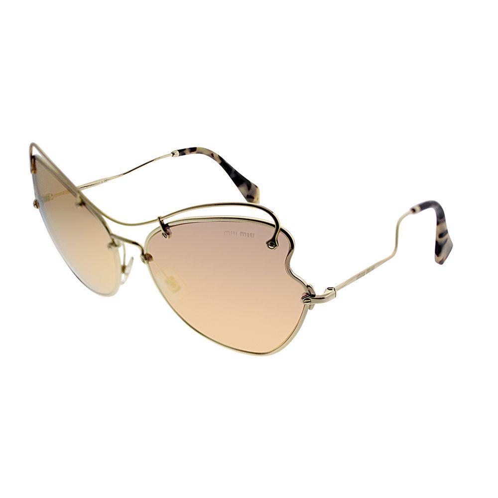 fe77085719c Miu Miu. Women s Metallic Scenique Collection Mu 56rs Zvn6s061 Pale Gold  Cat-eye Sunglasses