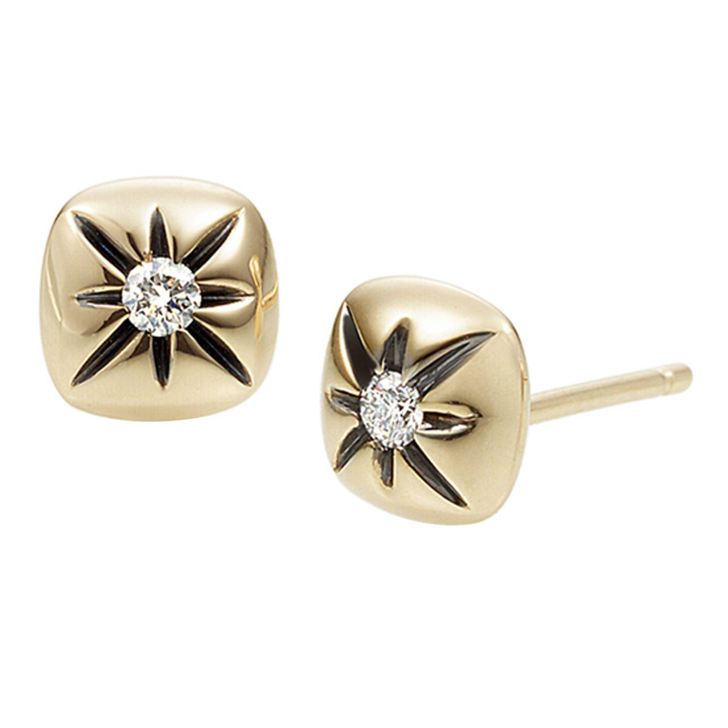 Lyst Jewelista Diamond Cushion Stud Earrings In 14k Gold in Metallic