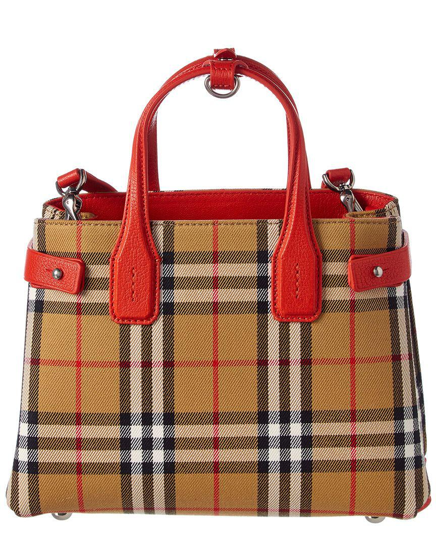 65f12d27f414 Lyst - Burberry Small Banner Vintage Check Canvas   Leather Tote in Red