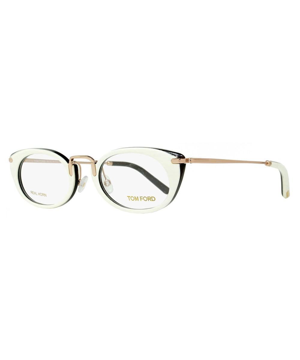 687add7ac8 Tom Ford - White Oval Eyeglasses Tf5257 028 Size  50mm Ivory Buffalo Horn gold.  View fullscreen