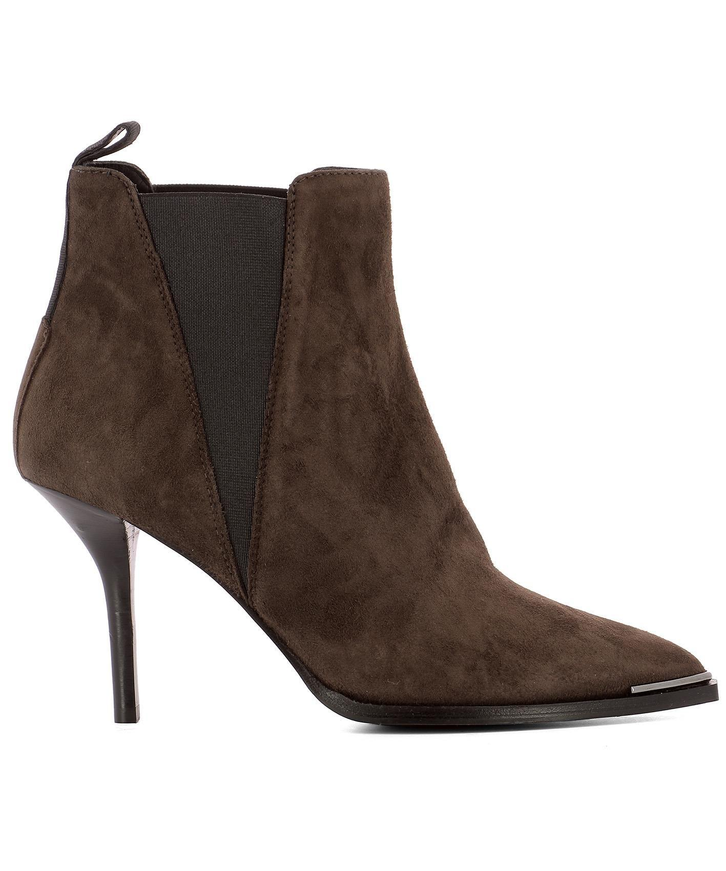 fb15601d5522 Lyst - Acne Women s Brown Suede Ankle Boots in Brown