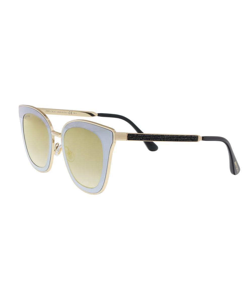 d06d5b56096 Lyst - Jimmy Choo Lory s 02m2 Black Gold Cat Eye Sunglasses in Metallic