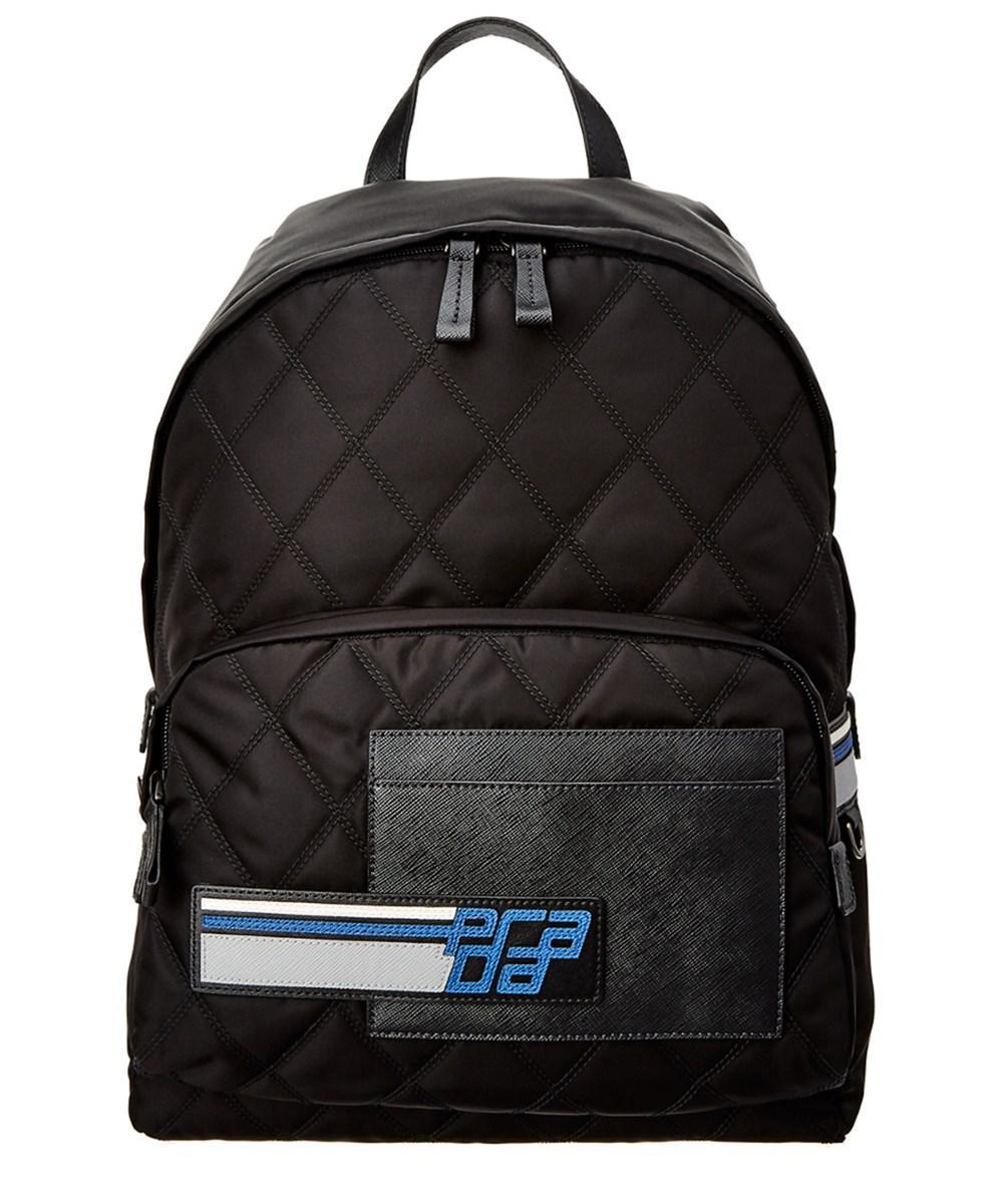 1699586b52fd ... uk prada. mens black technical fabric saffiano leather backpack 7c33e  ee2e3
