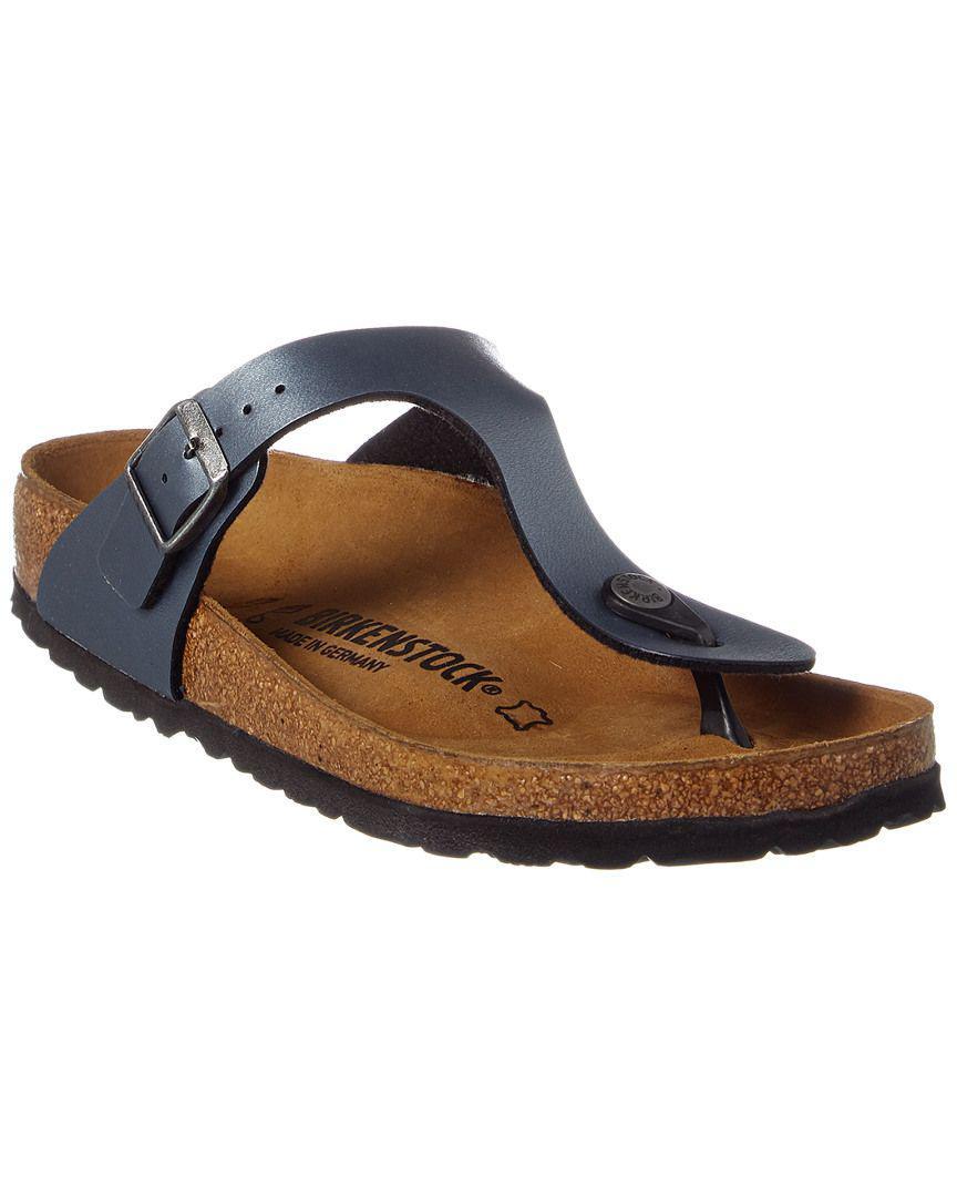 Birkenstock Leather Gizeh T strap Sandals in Blue Lyst
