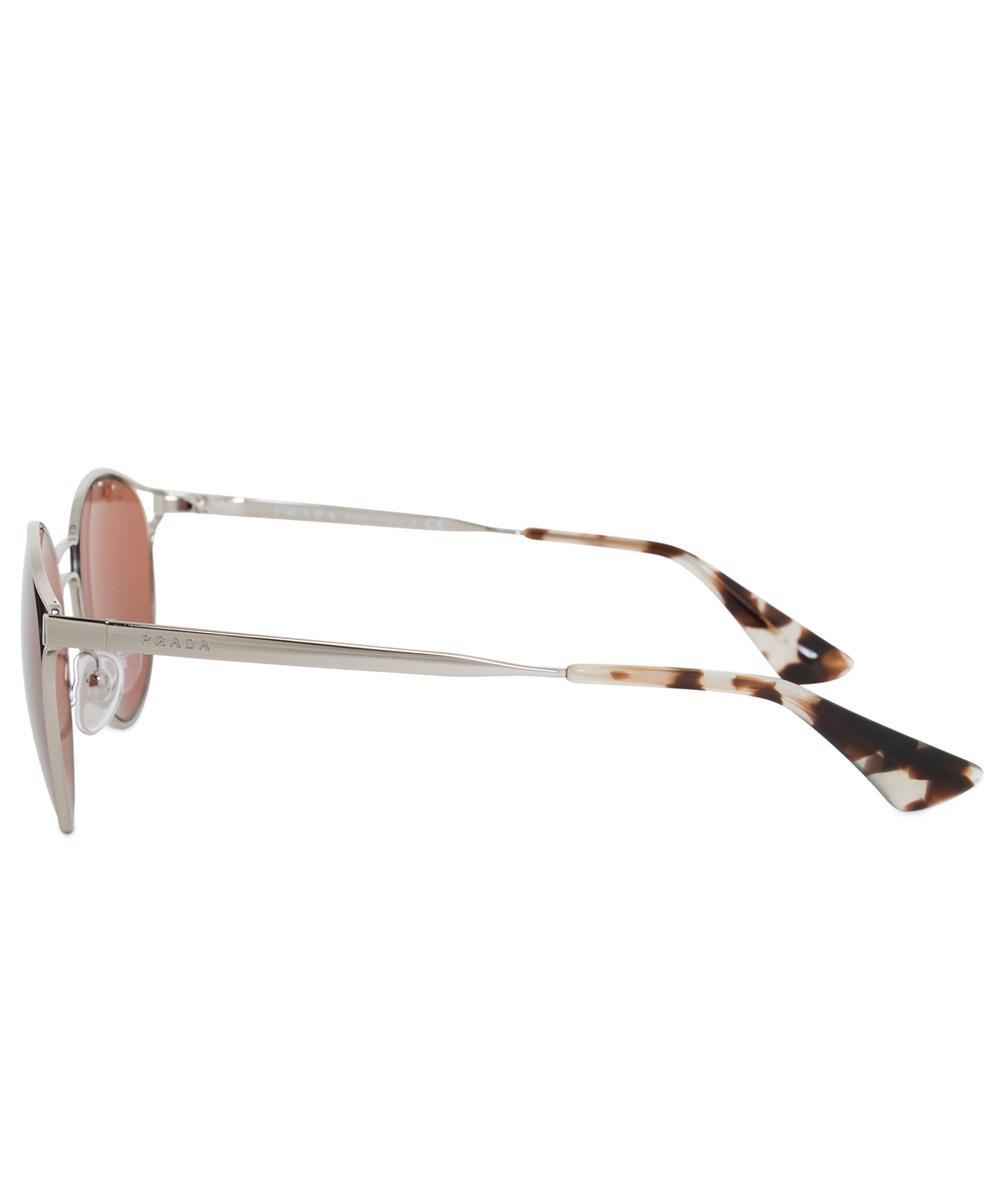 a4d448899535d ... discount lyst prada cinema round sunglasses pr62ss 1bc6n0 53 silver  metal c273c 66b39