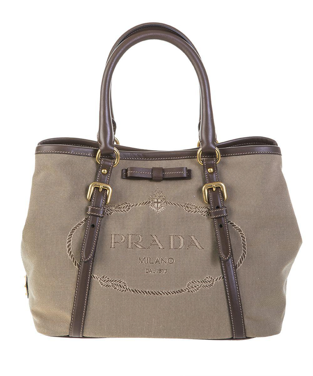 85b62ca0d2e8 Lyst - Prada Canvas And Soft Leather Shoulder Handbag in Brown