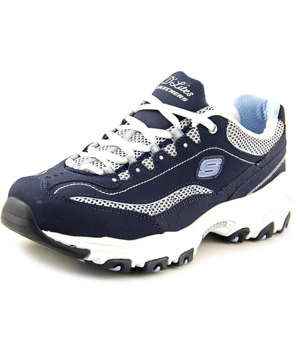Skechers D'lites-Life Saver Round Toe Leather Running Shoe Blue For Women