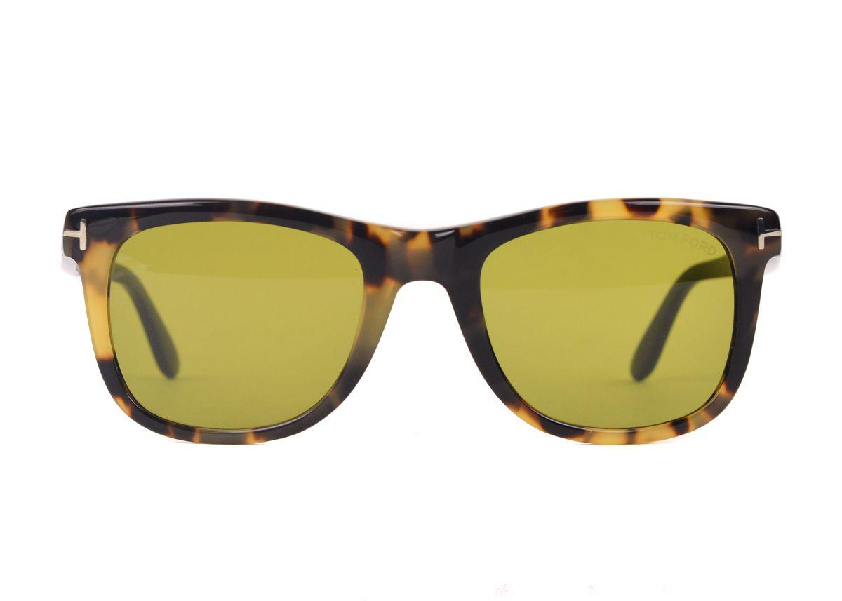 18128577510 Tom Ford. Men s Brown Square Snowdon Tortoise Sunglasses With Green Lenses