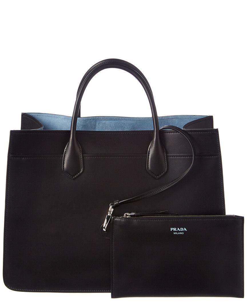 bb3eb6c706b7 Lyst - Prada Dual Leather Tote in Black - Save 4.761904761904759%