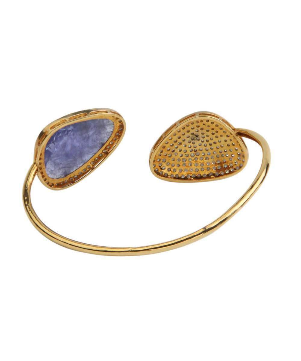 Socheec Floral Gold and Diamond Bangle FZXeJ2hu