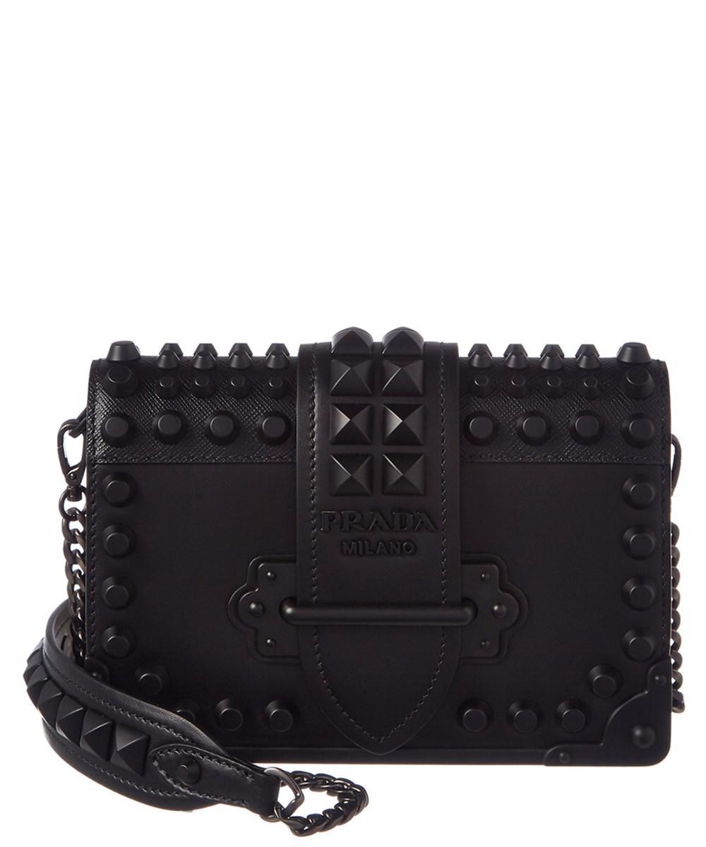 6c5c58177d71 Lyst - Prada Cahier Leather Chain Crossbody in Black