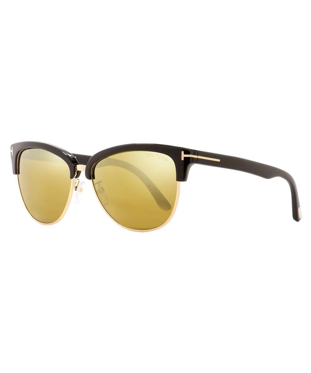 8297480602b Lyst - Tom Ford Oval Sunglasses Tf368 Fany 01g Black gold 59mm ...