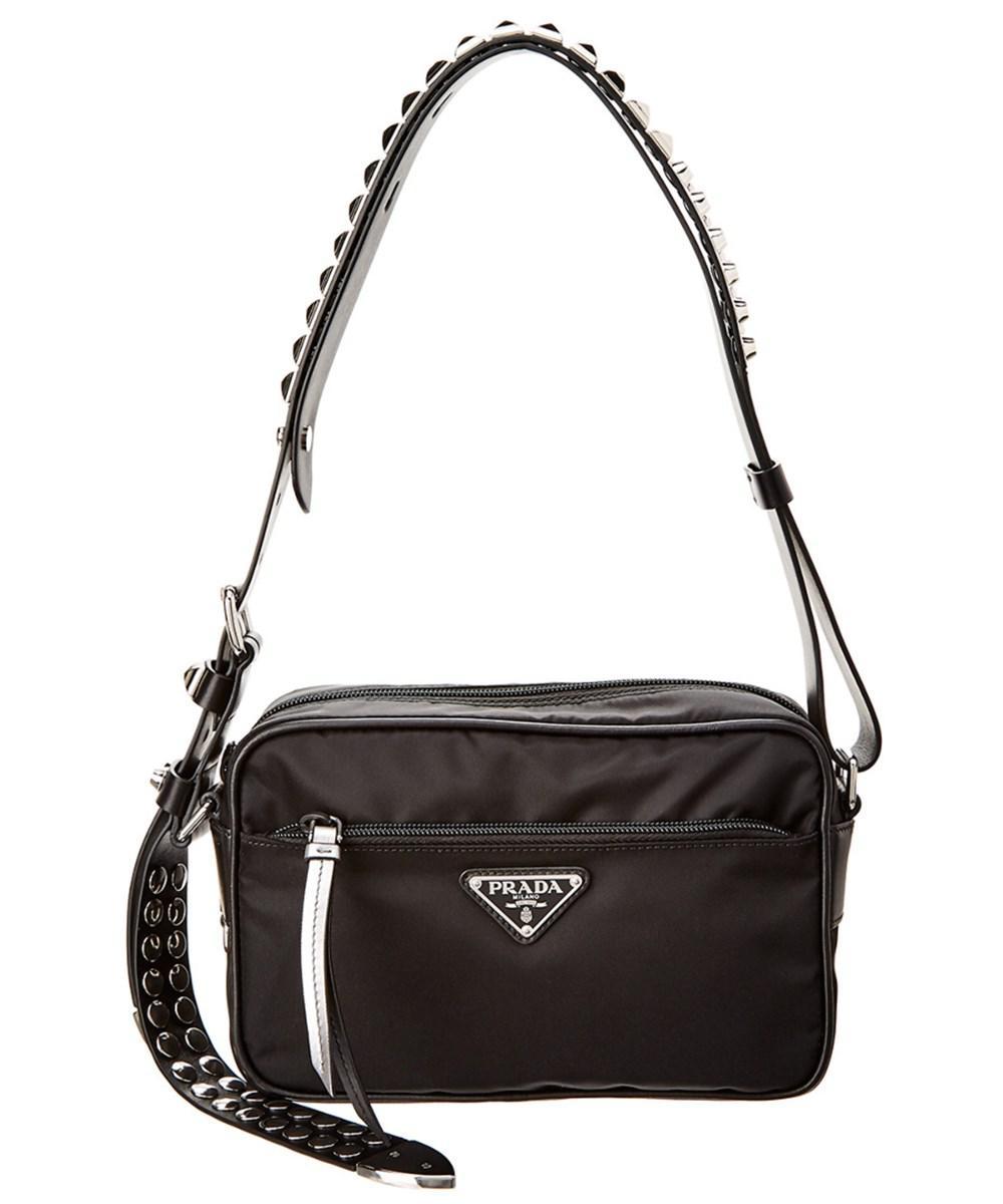1dcda34505 Lyst - Prada Nylon   Leather Shoulder Bag in Black