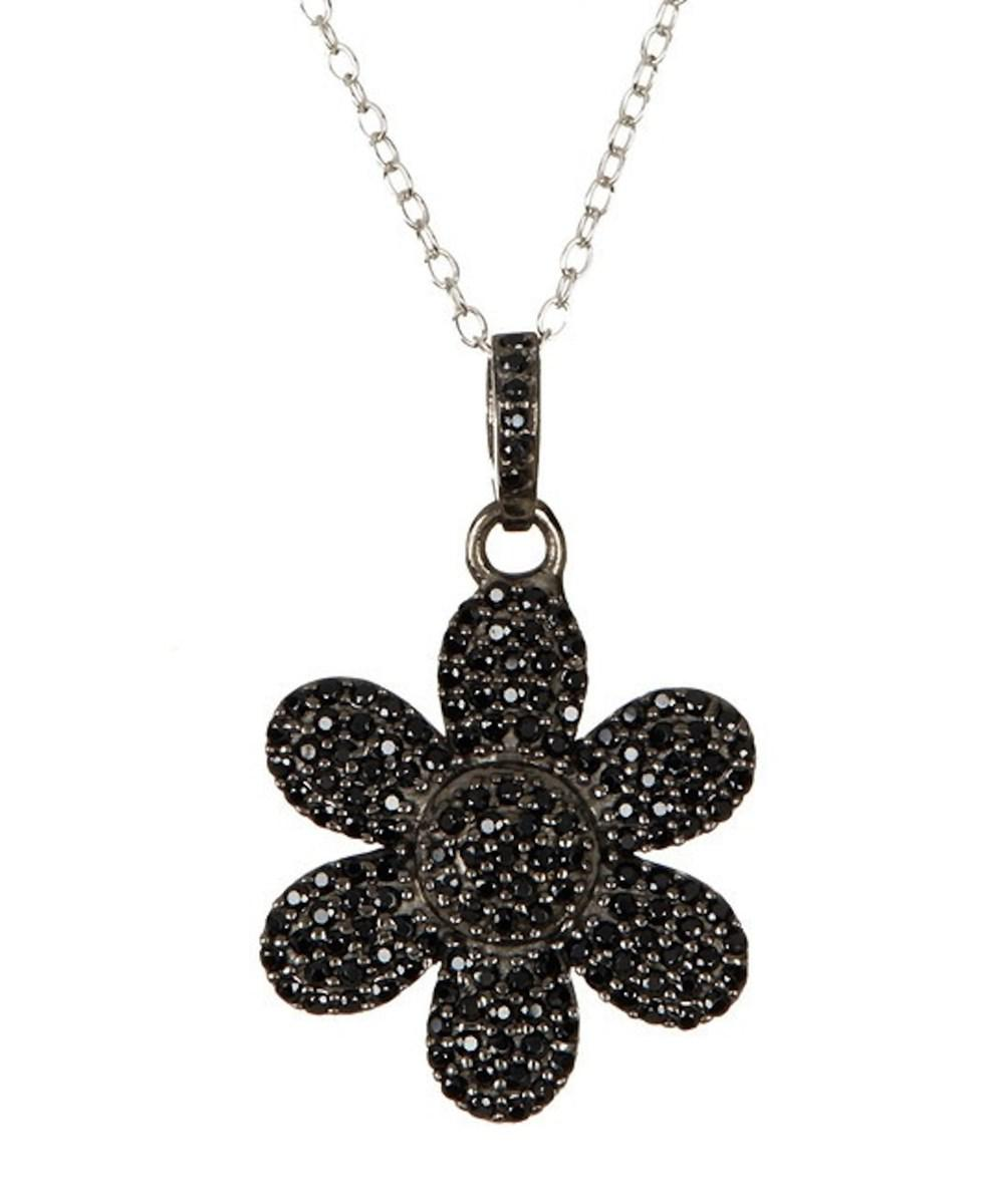 Lyst adornia black spinel and sterling silver flower power pendant view fullscreen mozeypictures Image collections