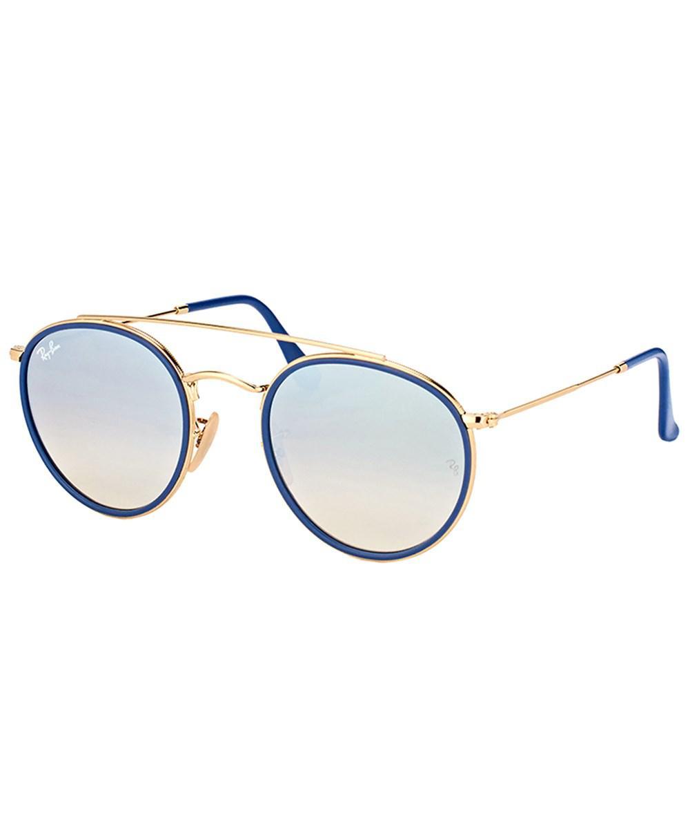 6d9cb9596a8 Lyst - Ray-Ban Rb 3647n 001 9u Round Double Bridge Gold Sunglasses ...